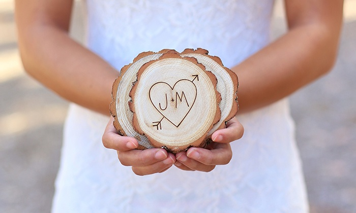 Morgann Hill Designs: Four or Eight Custom Engraved Wooden Tree-Slice Coasters from Morgann Hill Designs (Up to 55% Off)