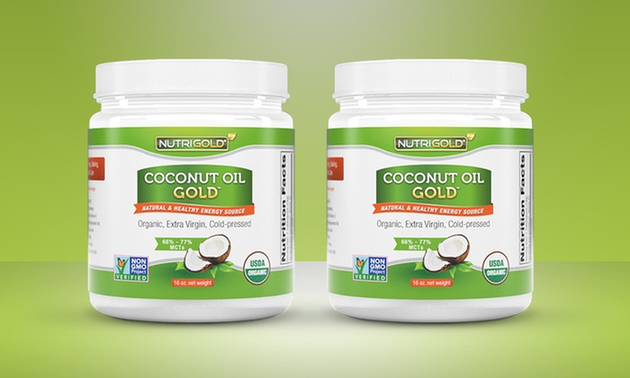 2-Pack of Nutrigold Organic Coconut Oil: 2-Pack of 16 Fl. Oz. Nutrigold Organic Coconut Oil.