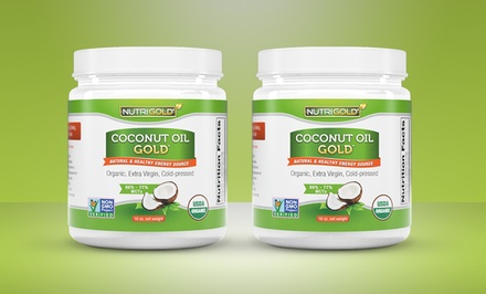 2-Pack of 16 Fl. Oz. Nutrigold Organic Coconut Oil.