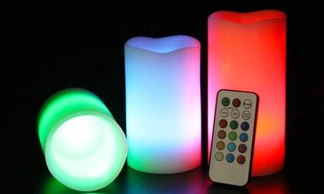 Set di 3 candele in cera a LED con effetto fiamma vera