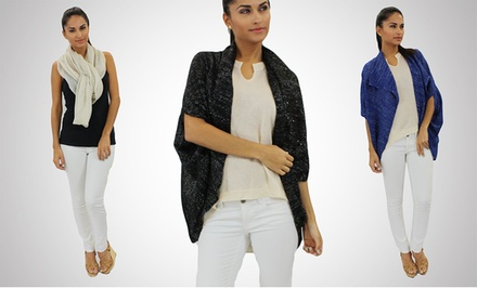 OhConcept 3-Way Lightweight Anda Shawl/Cardigan with Silver Threads. Three Colors Available.