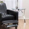 Black Bonded-Leather Channel Recliner