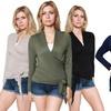 Women's Crossover Faux Wrap Cardigan