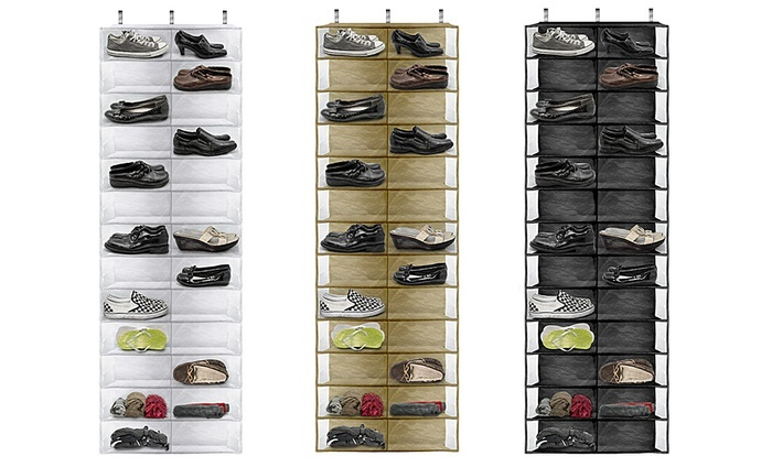 26-Pocket Over-the-Door Shoe Organizer: 26-Pocket Over-the-Door Shoe Organizer in Beige, Black, or White. Free Returns.