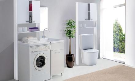Mobiletto da bagno per lavatrice groupon goods - Mobiletto salvaspazio bagno ...