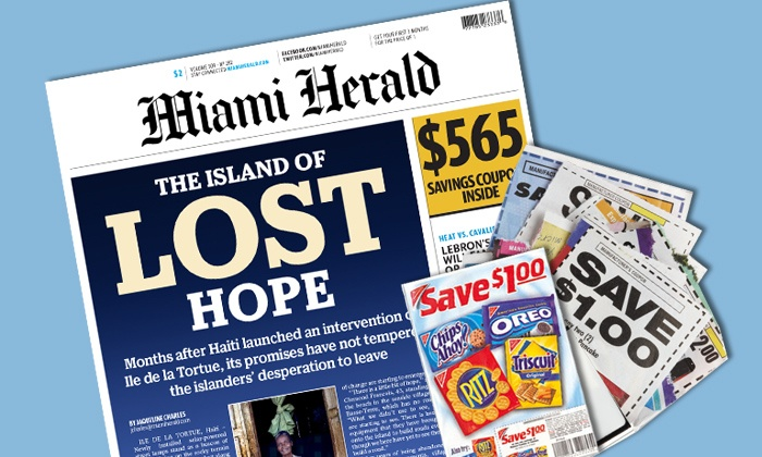 """Miami Herald: $10for a 12-Month Sunday Paper Subscription to the """"Miami Herald"""" with Digital Access ($203.95 Value)"""
