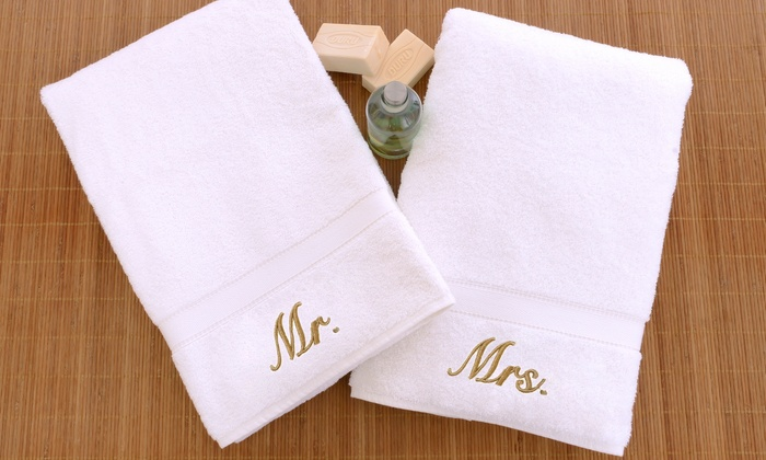 Mr./Mrs. Embroidered Hand Towels