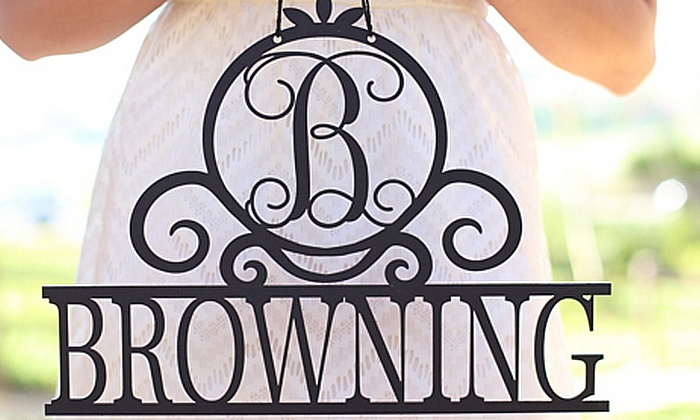 Morgann Hill Designs: One or Two Elegant Scroll Last Name Signs from Morgann Hill Designs (Up to 55% Off)