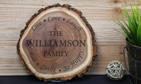 Personalized Wood Log Magnets, Coasters, Whiskey Glasses, and Wall Plaques from Monogram Online photo