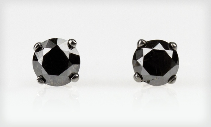 Half-Carat Black-Diamond Stud Earrings: $49 for One Pair of Half-Carat TDW Black-Diamond Stud Earrings ($175 List Price). Free Shipping and Free Returns.