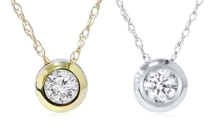 1/4-Carat Diamond Solitaire Pendants in 14K Gold