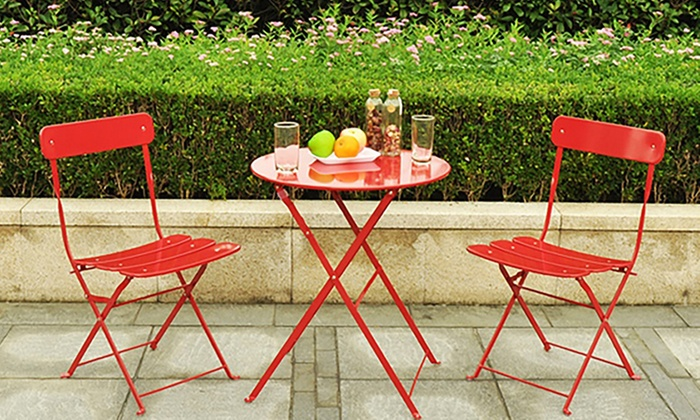 Metal Bistro Table Set Piece Groupon Goods - Bistro table set