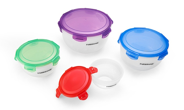 Farberware Microban Locking Round Food Storage Set 8 Piece Groupon