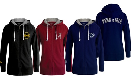 NCAA Long-Body Full-Zip Women's Hoodie. Schools A–S Available.