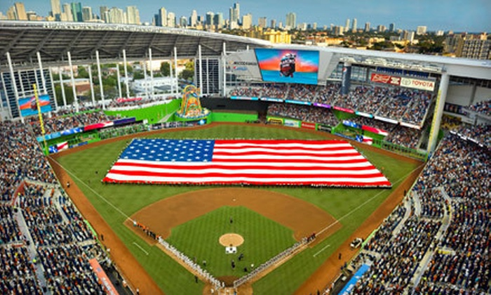 Miami Marlins - Marlins Park: Miami Marlins Game with Merchandise Credit on May 31, June 1, or June 14 at Marlins Park (Up to 58% Off)