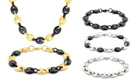GROUPON: Men's Puffed-Mariner Necklace and Bracelet Set Men's Puffed-Mariner Necklace and Bracelet Set