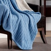 Reversible Cable-Knit Throw with Faux Sherpa Lining