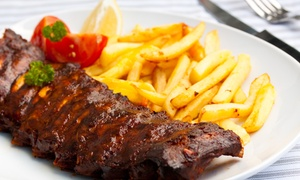 Casbah Roadhouse: Ribs or Chicken Schnitzel with Chips and Choice of Drink from R129 for Two at Casbah Roadhouse (46% Off)