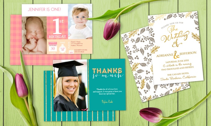 "Staples: 50 or 100 Custom 5""x7"" Flat Invitations or Announcements from Staples (70% Off)"