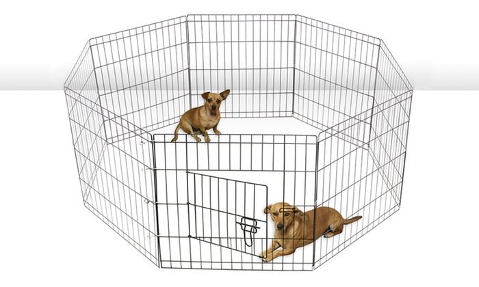 Up To 58 Off On Wire Metal Paneled Pet Playpen Groupon Goods