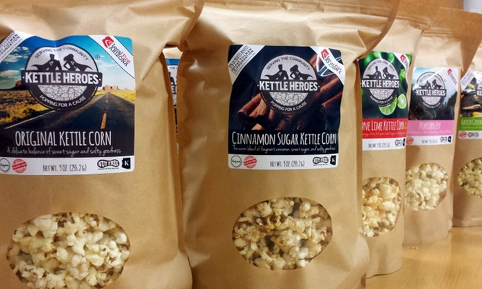 Kettle Heroes Gourmet Artisan Popcorn - Ahwatukee: Choice of Three 1.5 Pound Popcorn Bags or a  3.5 Gallon Gift Tin from Kettle Heroes (Up to 55% Off)