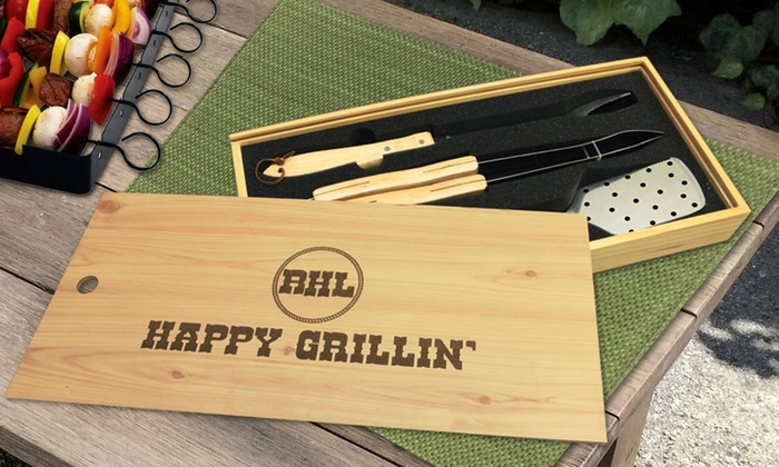 Monogram Online: $34.99 for a Three-Piece Barbecue Set in Personalized Wooden Box from Monogram Online ($84.99 Value)