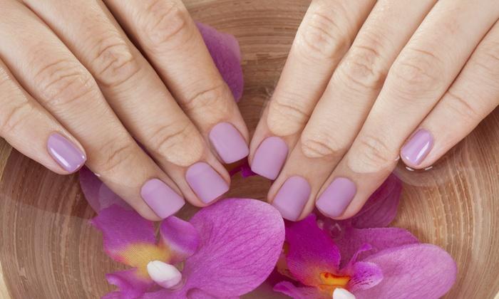 Gretchen Caldwell's Goddess To Goddess Nail Designs At Aplus Hair& Nails - Reno: No-Chip Mani-Pedi Package from Gretchen Caldwell's Goddess to Goddess Nail Designs at Aplus Hair& Nails (50% Off)