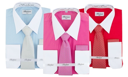 Berlioni Men's Dress-Shirt Set with Tie and Pocket Square