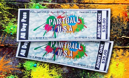 image for 2, 4, 6, or 12 Paintball Passes with Safety Gear and Gun Rental from Paintball USA Tickets (Up to 90% Off)