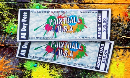 1, 2, 4, 6, or 12 Paintball Passes with Safety Gear and Gun Rental from Paintball USA Tickets (Up to 91% Off)