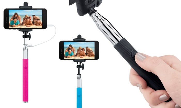 Merkury Innovations Foldable Selfie Sticks with Shutter Button