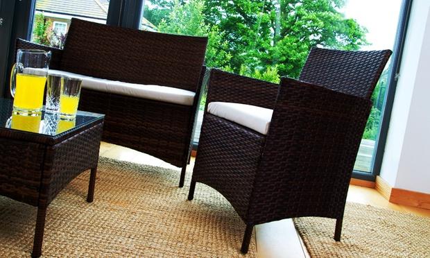 Rattan garden lounge set groupon for Outdoor furniture groupon