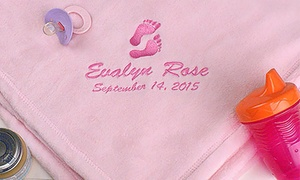Personalized Embroidered Baby Blanket (1- or 2-Pack) at GiftsForYouNow.com, plus 6.0% Cash Back from Ebates.