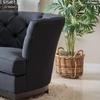 Anabella Black Fabric Tufted Sofa Chair