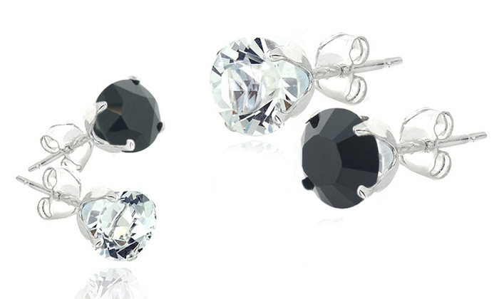 Black and White Stud Earrings Made with Swarovski Elements Crystals: Black and White Stud Earrings Made with Swarovski Elements Crystals. Multiple Sets Available.