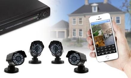 DVR avec 4 caméras extérieures, disque dur externe Verbatim 1 To en option