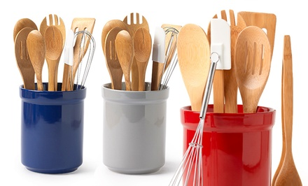 groupon daily deal - 8-Piece Tub of Tools Kitchen-Utensil Set. Multiple Colors Available.