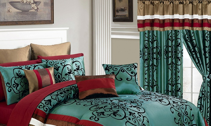 Closeout: Bedroom in a Bag Bedding Set (24- or 25-Piece) | Groupon