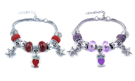 Owl and Starfish Charm Bracelets with Swarovski Elements Crystals in Silver-Plated Brass