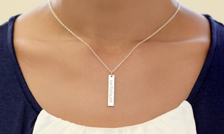 Personalized Sterling Silver Bar Name Necklace from Monogram Online