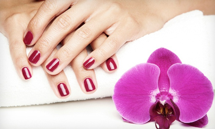 Reddicks Beauty Salon - Eastside: Mani-Pedis with Acrylic Nails, Traditional Polish, or Shellac Gels at Reddick's Beauty Salon (Half Off). Four Options Available.