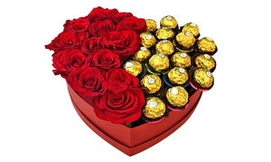 My Flowers Dubai: Gift Box of Up to 25 Roses and Chocolates from My Flowers Dubai (Up to 46% Off)