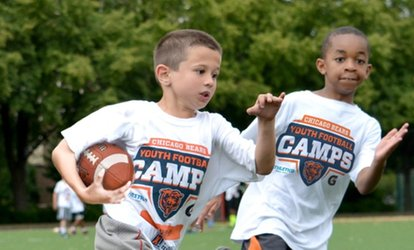 image for Chicago Bears Non-Contact Instructional Youth Football Camp, Full- or Half-Day Option, Ages 6-14.
