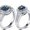 Blue and White Round Diamond Ring