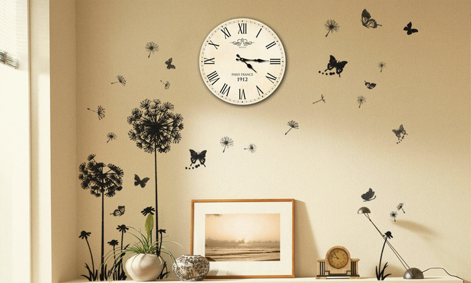 Wall stickers and clock mural groupon goods for Clock wall mural