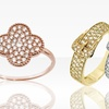 Sterling Silver and Gold CZ Buckle and Clover Rings