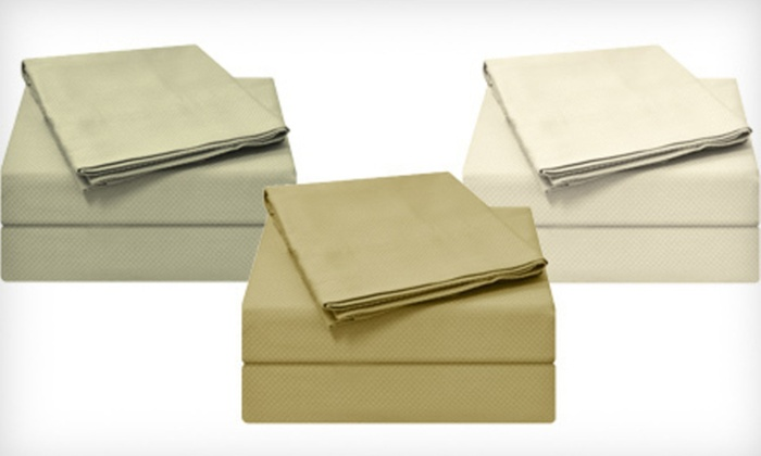 Four-Piece Royal Sateen Sheet Set: 300-Thread-Count Royal Sateen Dobby Check Four-Piece Sheets Set (Up to 65% Off). Multiple Sizes and Colours Available.