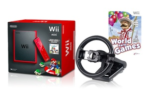 Nintendo Wii Mini Bundle with Steering Wheel and Two Games
