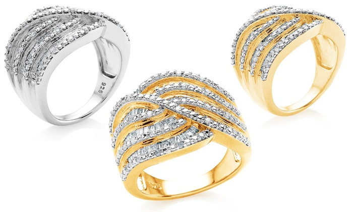 1 CTTW Diamond Fashion Ring: 1 CTTW Diamond Ring in Polished Sterling Silver or Gold-Plated Sterling Silver. Multiple Options. Free Returns.