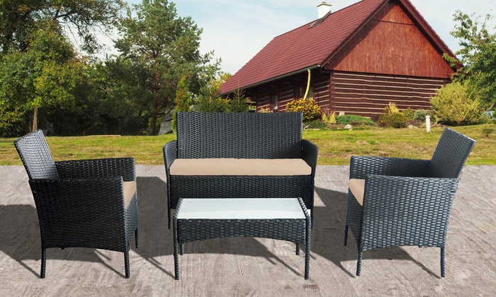 Four-Piece Rattan-Effect Furniture Set
